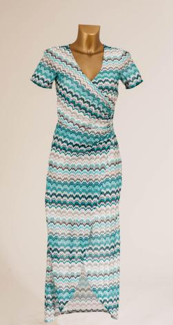 Pleated Wrap Knit Long Dress, Turquoise - Pernilla Wahlgren