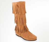 3-Layer Fringe Boot Taupe - Minnetonka