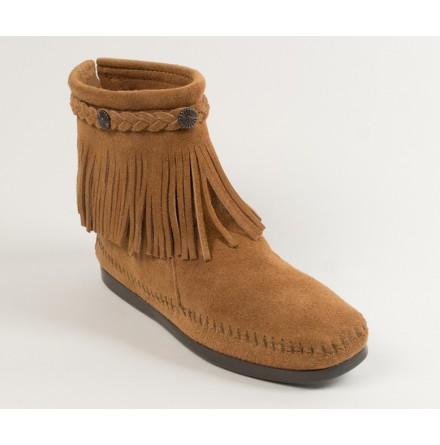 Hi Top Back Zip Boot Taupe - Minnetonka
