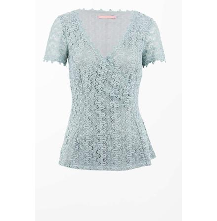 Crochet Lace Top Dusty Blue - Pernilla Wahlgren