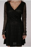 Crochet Lace Short Dress Black - Pernilla Wahlgren