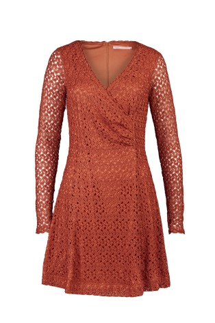 Crochet Lace Short Dress Rust - Pernilla Wahlgren
