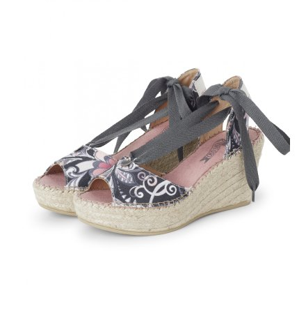 On Heel Printed Espadrillos Almost Black - Odd Molly