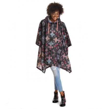 Monsoon Printed Rainponcho Black Lava - Odd Molly