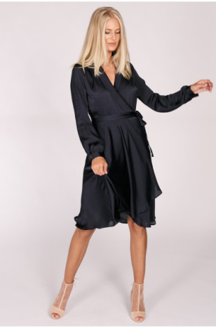 Brooke Wrap Dress Dark Blue - Suzanne Nilsson