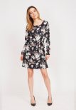 Kate Dress Frozen Flower Black - Dry Lake