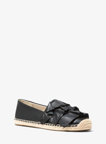 Bella Ruffled Leather Espadrille Black - Michael Kors