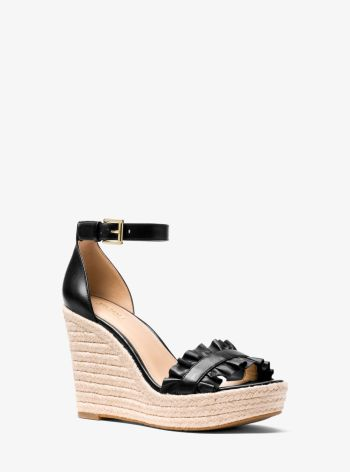 Bella Ruffled Leather Wedge Black - Michael Kors