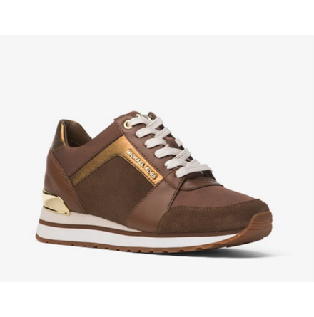 Billie Canvas and Leather Sneaker Caramel - Michael Kors