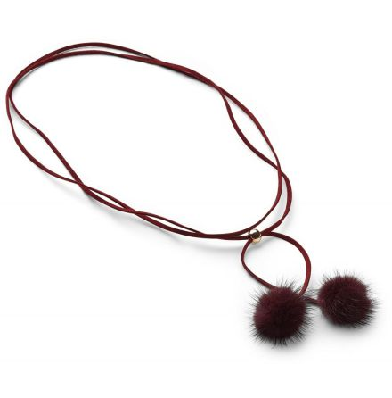 Nicki Mink Necklace, Burgundy - NATURES Collection
