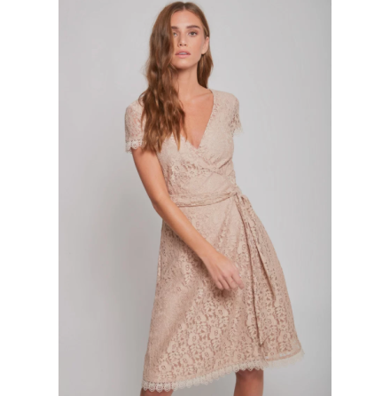 Joana Wrap Dress, Sand Lace - Dry Lake