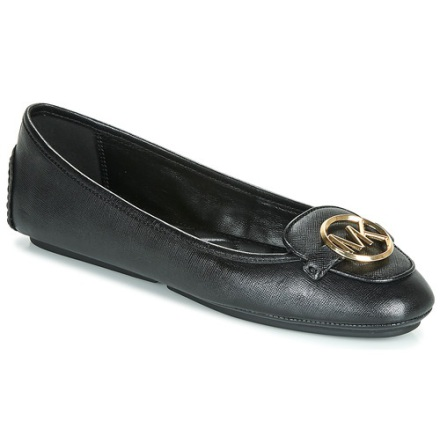 Lillie Leather Moccasin, Black/Gold -  Michael Kors
