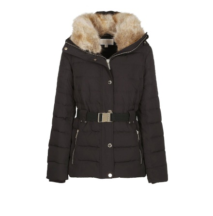 Chevron-Quilted Belt Jacket, Black - Michael Kors