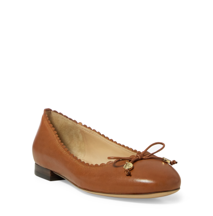 Glennie Scalloped Flats, deep saddle tan