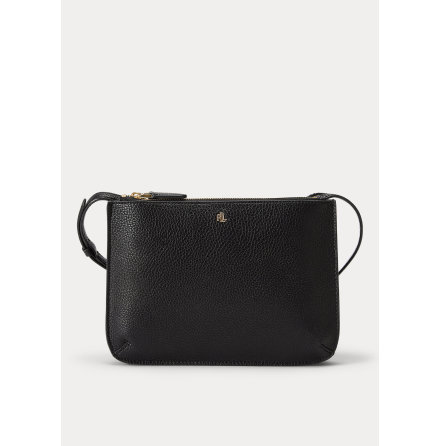 Carter: Medium Crossbody Bag, Faux Pebble Grain, black