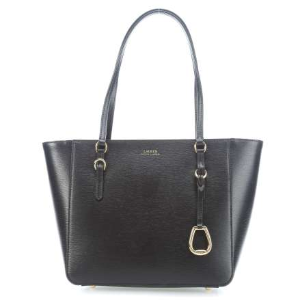 Saffiano Leather Shopper: Medium, black