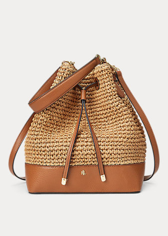 Straw Debby Drawstring: Medium, natural