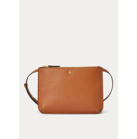 Carter: Medium Crossbody Bag, Faux Pebble Grain, lauren tan