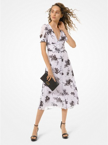Floral Georgette Button-Front Dress, lavender mist