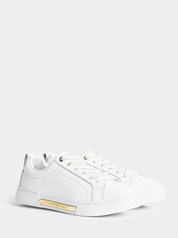 Metallic Leather Logo Trainers, white