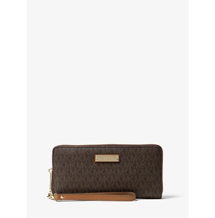 Jet Set; Logo Continental Wristlet, brown