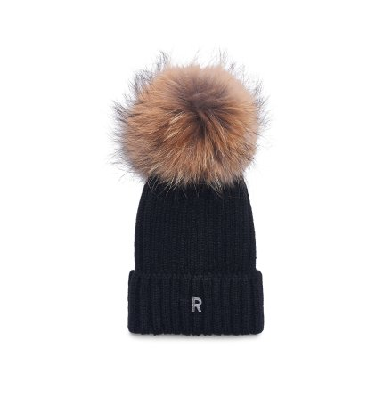 Pom Pom Beanie Hat, black/natural