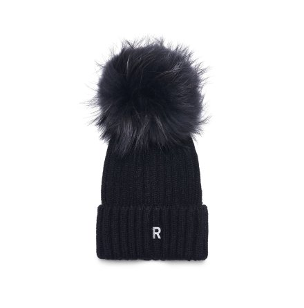 Pom Pom Beanie Hat, black/blackish
