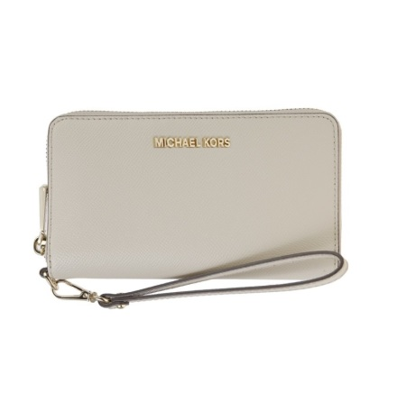 Jet Set: Logo Continental Wristlet, light sand
