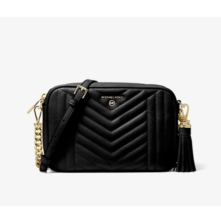Jet Set Charm: Medium Camera Bag, black quilted