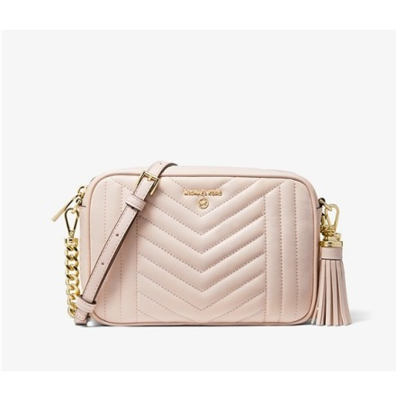 Jet Set Charm: Medium Camera Bag, soft pink quilted