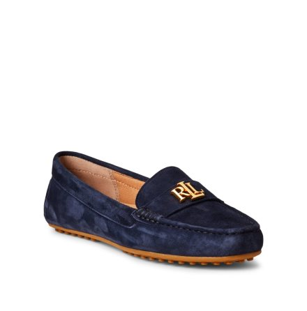 Barnsbury Suede Loafers, Navy/ Gold