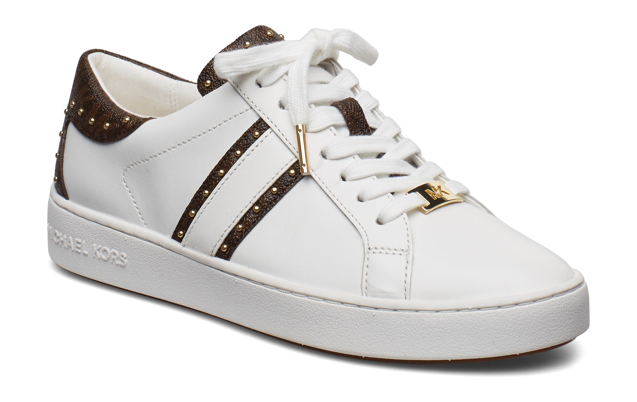 Keaton Stripe Sneaker, white brown Michael Kors